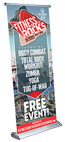 fitness on the rocks pull-up banner