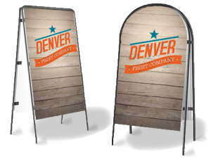 image of metal a-frame signs with denver print logo