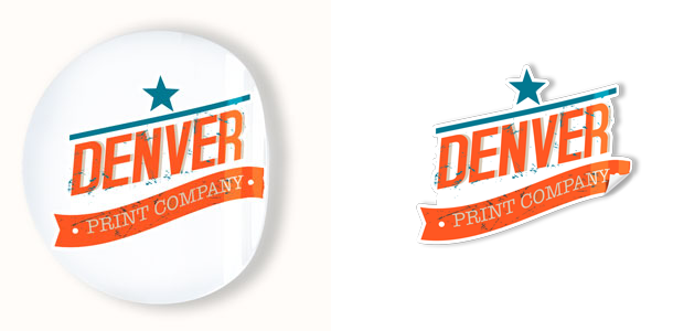 sticker printing denver - round sticker and custom cut sticker
