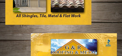 roofing, G n R roofing, business card, graphic design