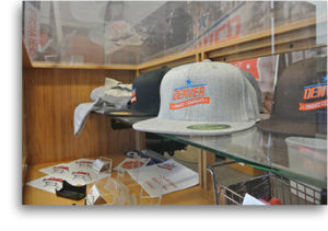 hats and gear on shelf