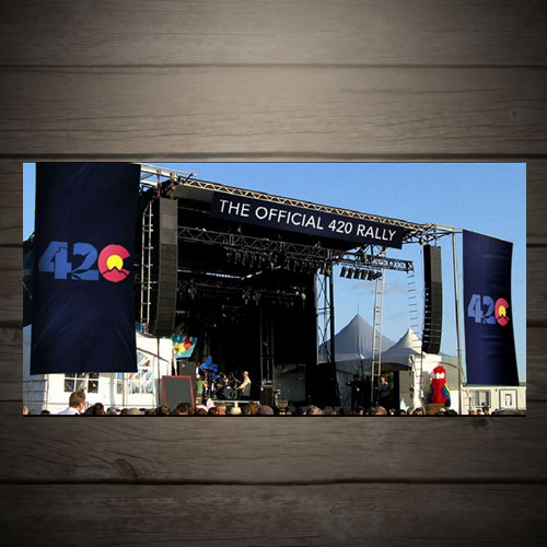 stage and banners for the annual denver 420 rally