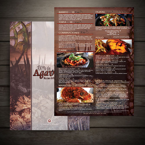 custom menu for 100% de agave