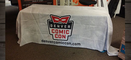 Comic Con Table cloth printed in Denver