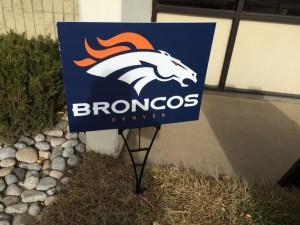 Denver Broncos coroplast yard sign
