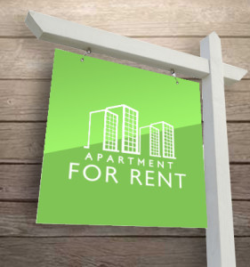 image of 'for rent sign w/ wood background