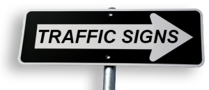 one way sign with 'traffic signs' on it