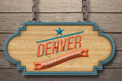 routed wood sign with denver print company logo