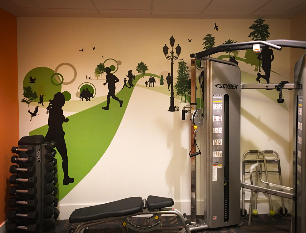 Fitness room wall graphics denver printing company
