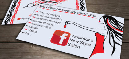 yessimar's saloon business cards