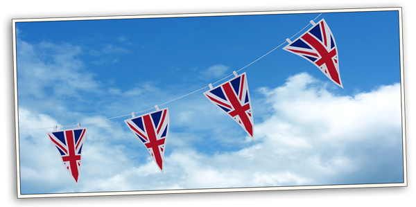 example of union jack buntings in UK