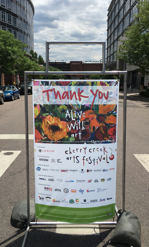 cherry creek arts festival sponsor thank you sign