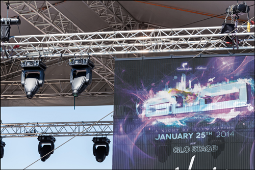 glo stage banner and rigging close up