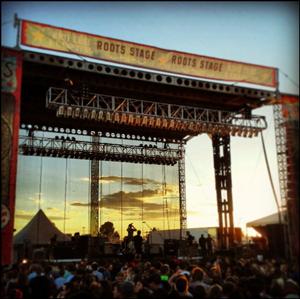 mesh stage banner at sunset
