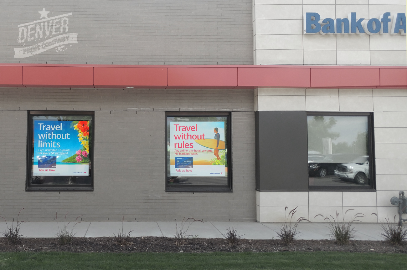 Bank Of America Window Advertisement 1 Denver Printing