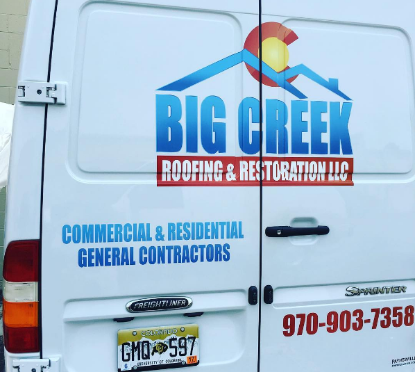 Big Creek roofing vehicle graphics