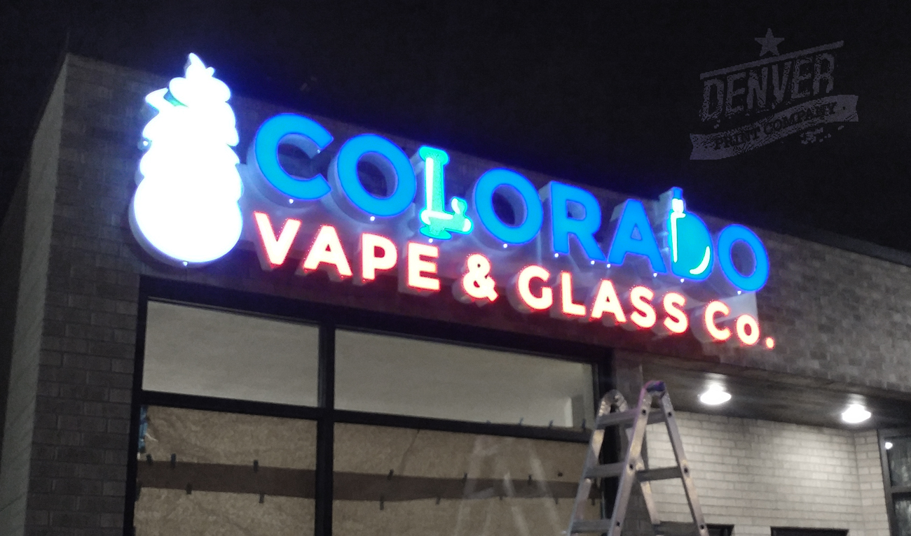 colorado vape and glass channel letter sign