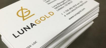 luna gold business cards