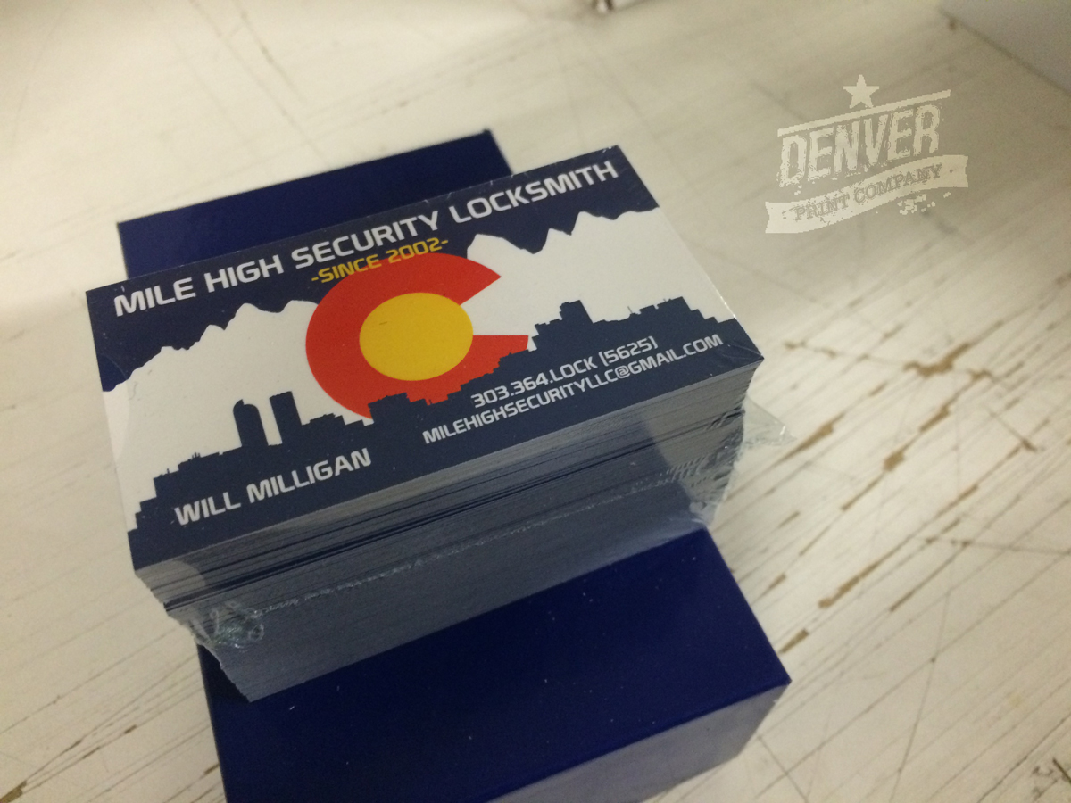 mile high security locksmith business cards