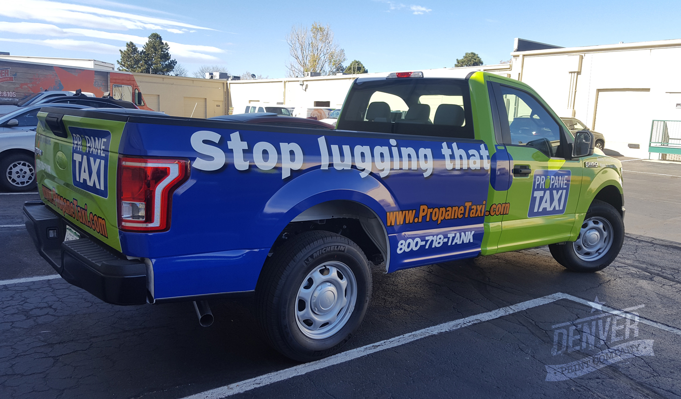 Full vehicle wrap by Denver Print Company for Propane Taxi