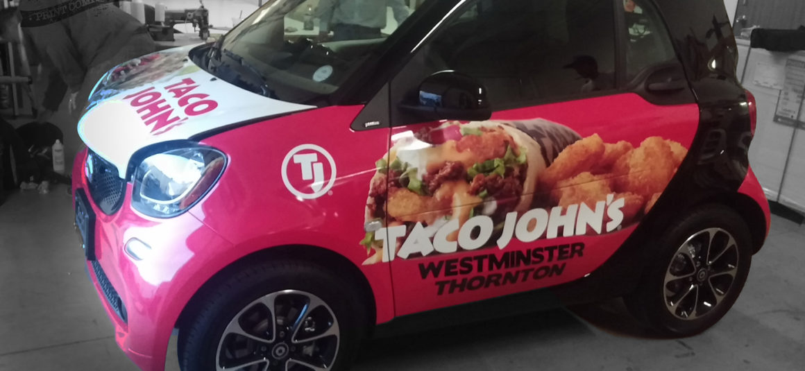 taco johns smart car wrap denver print company