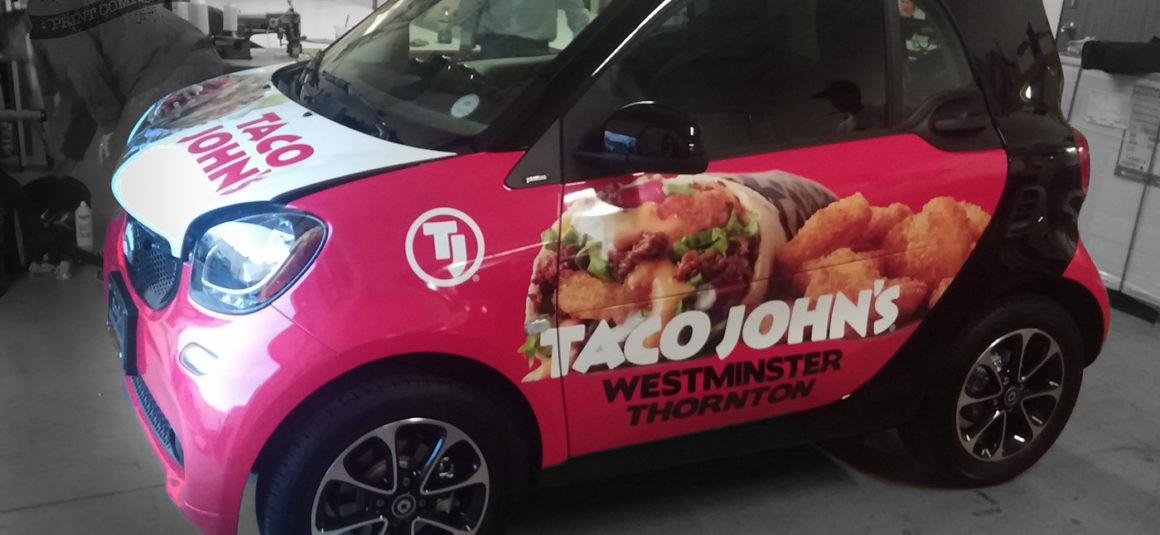 Taco Johns Smart Car Wrap Denver Printing Company