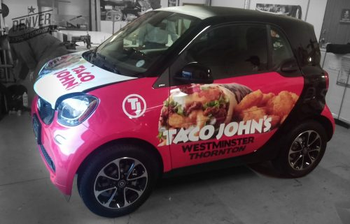 Taco Johns smart car full wrap by Denver Print Company