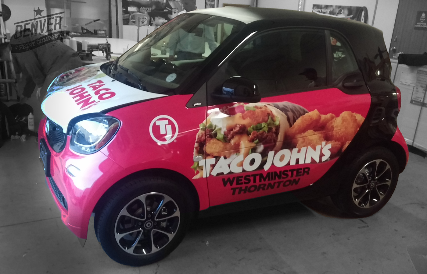 Taco Johns smart car full wrap by Denver Print Company