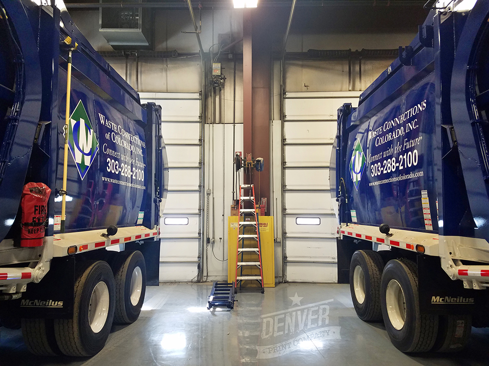 Waste Connections fleet vehicle graphics lettering garbage trucks