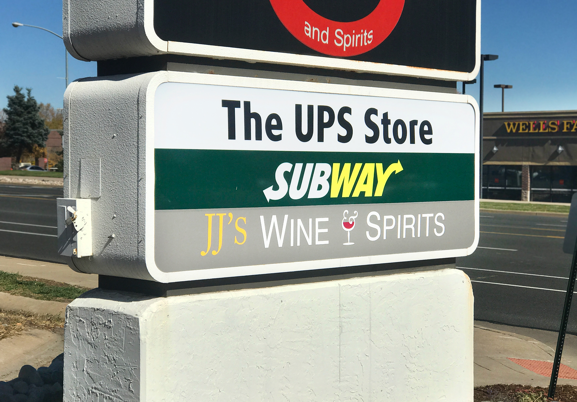 jj wine and liquor vinyl adhesive sign