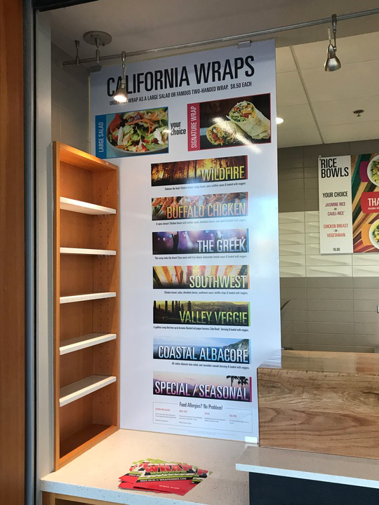 california wrap runner menu board