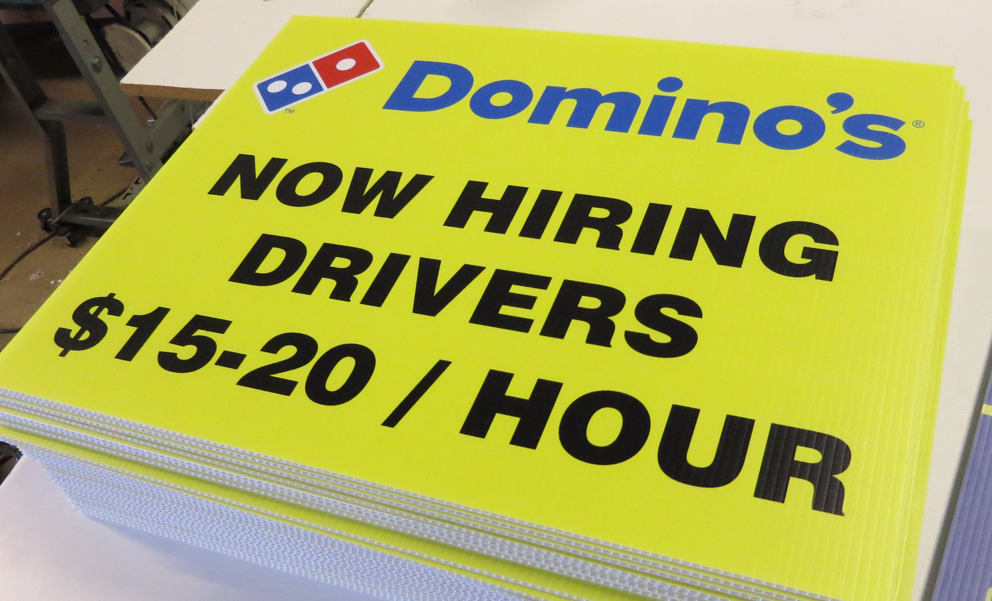 dominoes help wanted yard signs