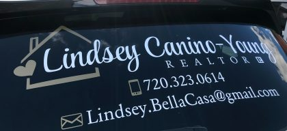 Rear window graphic for Lindsey Canino-Young, Realtor