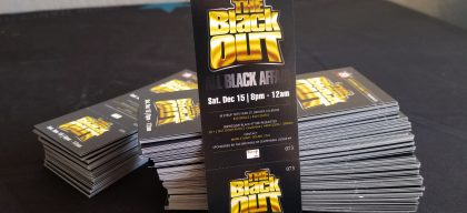 Number & perforated Tickets to 'The Black Out' event