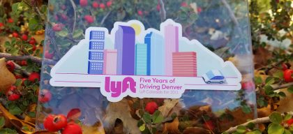 'Five Years of Driving Denver' stickers for Lyft Colorado