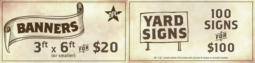 banner and yard signs special