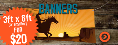 banners 3x6 for $20