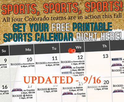 free printable denver sports schedule