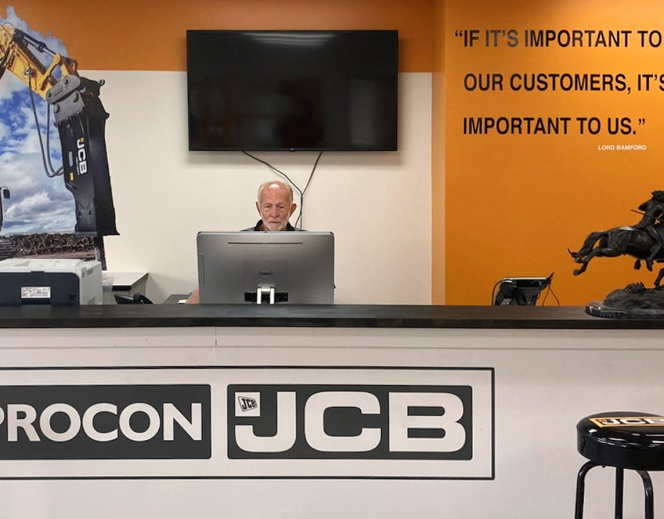 lobby sign and graphics for jbc construction equipment by denver print company
