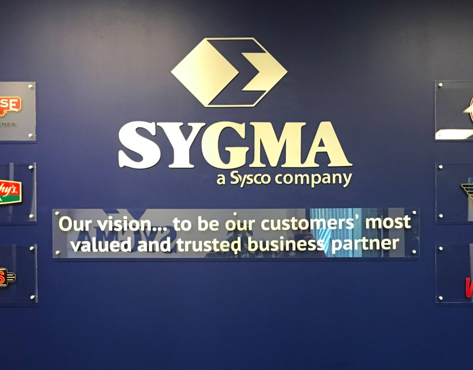 lobby sign for sygma network by denver print company