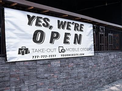 we're open restaurant banner