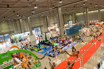 Top view of people and booths at trade show