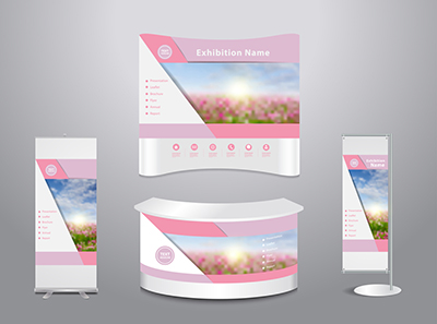 Set of trade exhibition stand with cover presentation abstract geometric background, With Spring flower field and blue sky background, Vector illustration modern design layout template